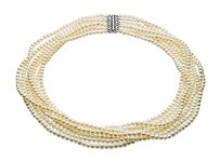 LoveBrightJewelry Sterling Silver and Freshwater Cultured Pearl 7 Strand Necklace 17 27 Inch/4 4.5 MM