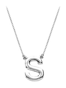 LoveBrightJewelry Sterling Silver Baby Charm S Block Initial Pendant