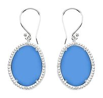 LoveBrightJewelry Sterling Silver Blue Chalcedony and Cubic Zirconia Earrings 30.16 CT TGW