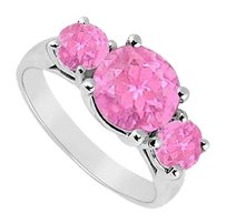 LoveBrightJewelry Sterling Silver Created Pink Sapphire Three Stone Ring 0.50 CT TGW