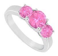 LoveBrightJewelry Sterling Silver Created Pink Sapphire Three Stone Ring 1.00 CT TGW