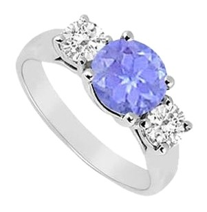 LoveBrightJewelry Sterling Silver Created Tanzanite and Cubic Zirconia Three Stone Ring 3.00 CT TGW