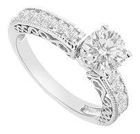 LoveBrightJewelry Sterling Silver Cubic Zirconia Engagement Ring 1.00 CT TGW