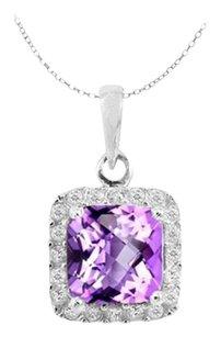 LoveBrightJewelry Sterling Silver Pendant with Square Amethyst and Round White CZ Valentines Day Jewelry Gift