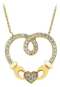 LoveBrightJewelry Stunningly Designed Cubic Zirconia and 18K Yellow Gold Vermeil Heart Pendant with Free Chain