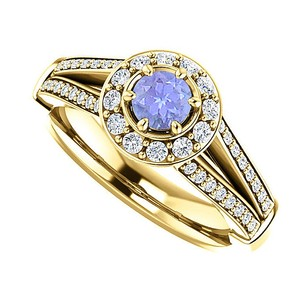 LoveBrightJewelry Tanzanite And Cz Split Shank Halo Ring 18k Gold Vermeil