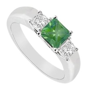 LoveBrightJewelry Three Stone Created Emerald and Cubic Zirconia Ring 925 Sterling Silver 0.33 CT TGW