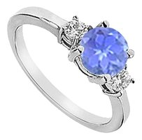 LoveBrightJewelry Three Stone Created Tanzanite and Cubic Zirconia Engagement Ring 925 Sterling Silver 1.25 CT TGW