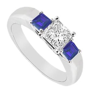 LoveBrightJewelry Three Stone Cubic Zirconia and Created Sapphire Ring 925 Sterling Silver 0.33 CT TGW