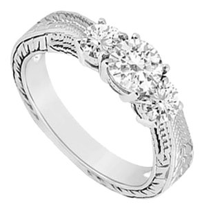 LoveBrightJewelry Three Stone Cubic Zirconia Ring Sterling Silver 0.33 CT CZs