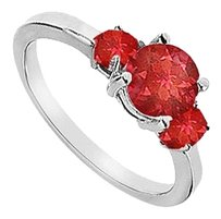 LoveBrightJewelry Three Stone GF Bangkok Ruby Engagement Ring 925 Sterling Silver 1.25 CT TGW