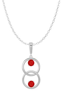 LoveBrightJewelry Two Stone Rubies Double Circle Pendant 14K White Gold
