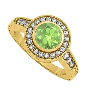 LoveBrightJewelry Unique Gift Peridot And Cubic Zirconia Ring 1.25 Tgw
