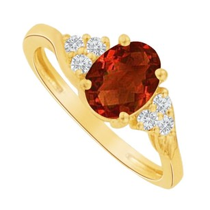 LoveBrightJewelry Win Her Heart Silver Ring with Oval Garnet and Round CZ