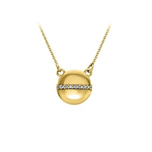 LoveBrightJewelry Yellow Gold CZ Circle Necklace Free Lobster Clasp Chain