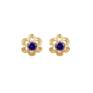 LoveBrightJewelry Yellow Gold Floral Petals Prong Set Blue Gem Earrings