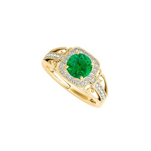 LoveBrightJewelry Yellow Gold Vermeil Filigree Ring With Emerald And Cz