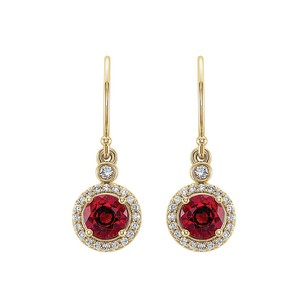 LoveBrightJewelry Yellow Gold Vermeil Ruby Cubic Zirconia Halo Earrings