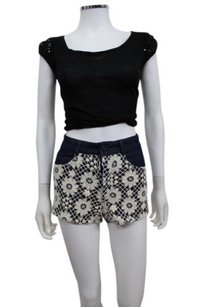 Lucca Couture Crochet Over Cut Off Shorts Navy cream