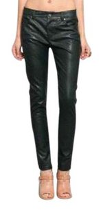 Lucca Couture Leather Vegan Moto Straight Pants Forest Green
