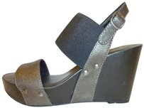 Lucky Brand Nwt Wedge Black and Pewter Platforms
