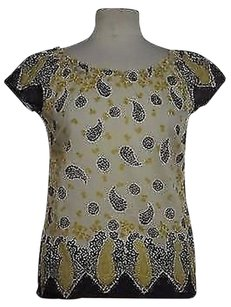 Lucky Brand Lucky Womens Black Yellow Printed Cap Sleeve Cotton Shirt Top Multi-Color