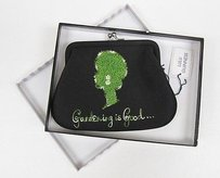 Lulu Guinness Lulu Guinness Black Satin Gardening Is Good Change Coin Purse
