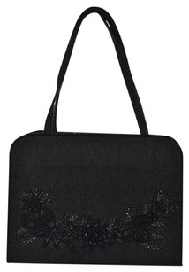 Lulu Guinness Womens Black Sequined Textile Handbag Satchel in Multi-Color