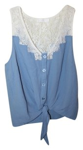 Lush Periwinke Lace Tie Front Top Periwinkle