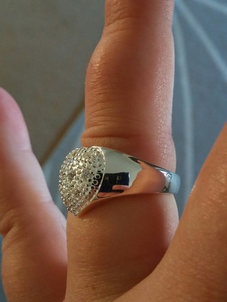 Macy's Open Band Large Heart Jeweled Silver Ring