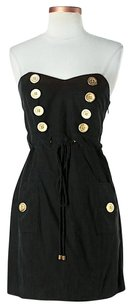 Madison Marcus short dress Black Silk Strapless Gold Hardware on Tradesy