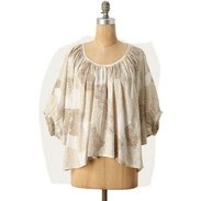 Maeve Anthropologie Cotton Top Brown Cream