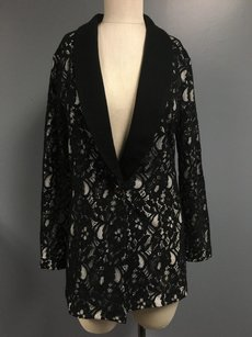 Magaschoni Lacey Collared One Button Floral Jacket Sma4444 Sweater