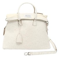 Maison Margiela 5ac Leather Tote in Beige/White