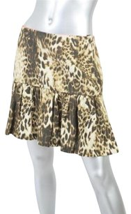 Maje Lune Leopard Print Fittedgathered Flounced Short Mini 640 Skirt Browns