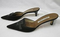 Manolo Blahnik Manolo Canvas Pointy Toe W Cutout At Front Black Mules