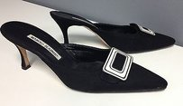 Manolo Blahnik Canvas Black Mules