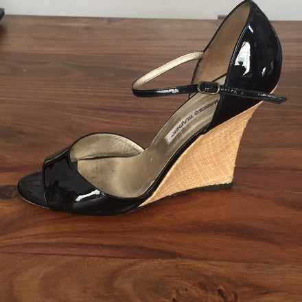Manolo Blahnik black Wedges