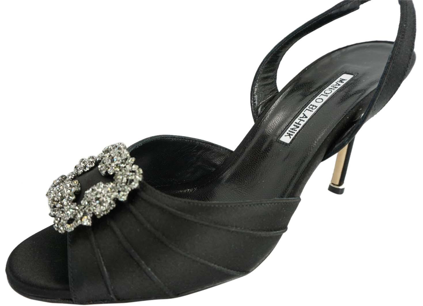 Manolo Blahnik Black Satin Cassia Jewel Slingback Peep Toe Sandals Formal Shoes Size EU 38 (Approx. US 8) Regular (M, B)