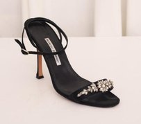 Manolo Blahnik Manolo Vintage His First Jewels Satin Jeweled Black Pumps