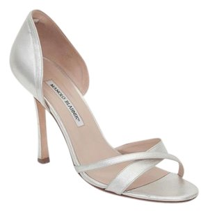 Manolo Blahnik Womens Leather Open Peep Toe Sandal Silver Pumps