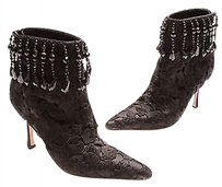 Manolo Blahnik Manolo Lace Beads Signed Ankle Size 8us Black Boots