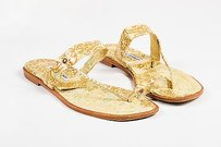 Manolo Blahnik Brocade Thong Flat Gold Sandals