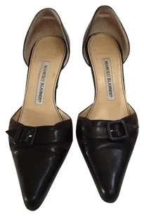 Manolo Blahnik Gray Leather Suede black Pumps