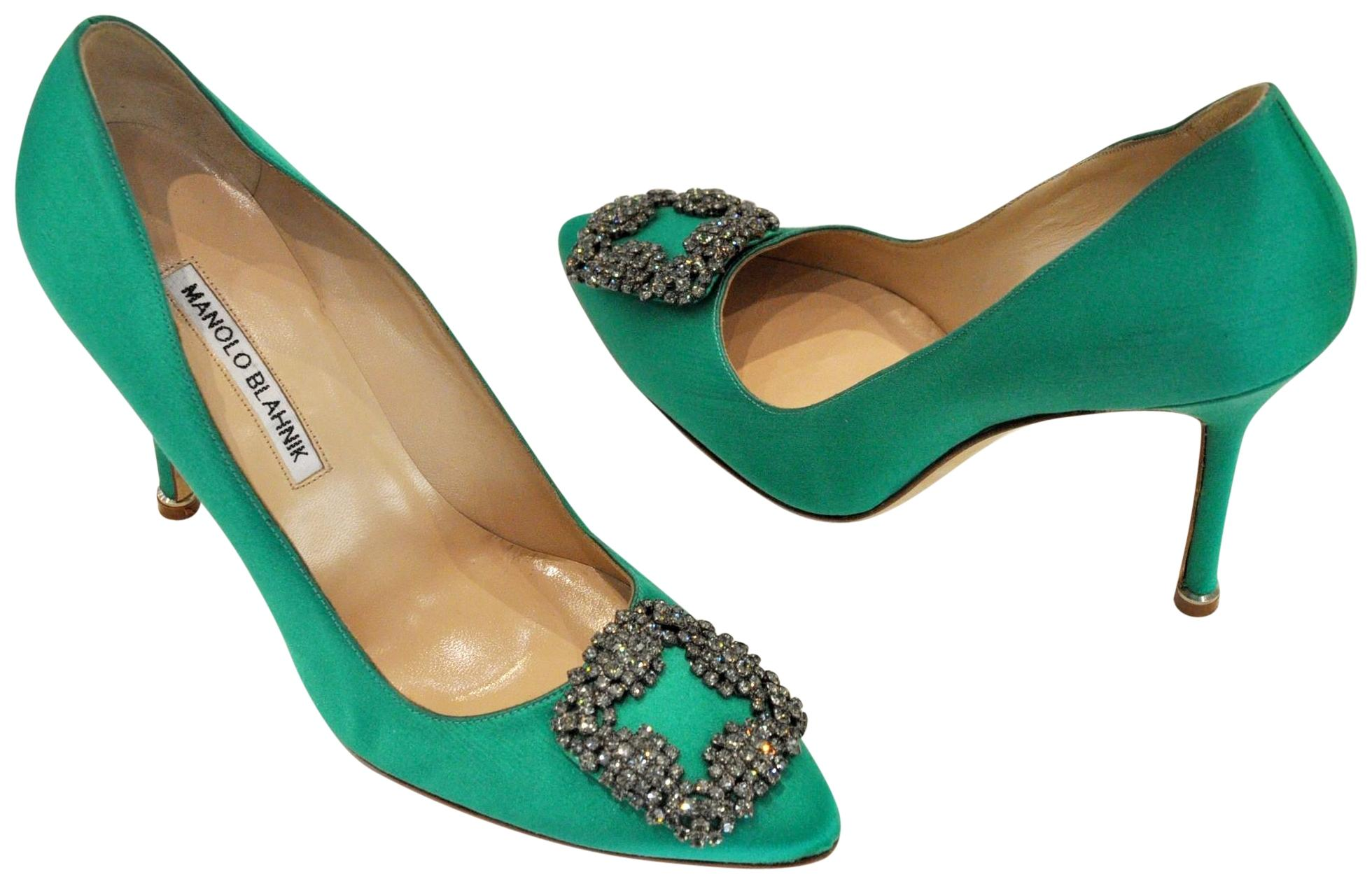 a18a1be3c75 Manolo Blahnik Green Hangisi Hangisi Hangisi Pointed-toe Pumps Size EU 38  (Approx. US 8) Regular (M