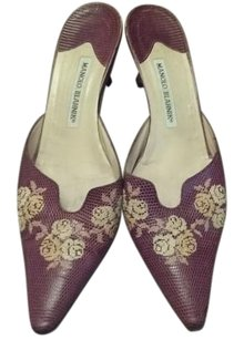 Manolo Blahnik Kitten Heel Leather Lizzard Floral Embroidered Brown Mules