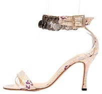 Manolo Blahnik Metallic Limited Edition Exclusive Print Metallic Gold Sandals