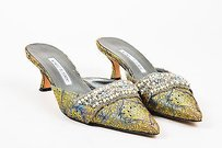Manolo Blahnik Blue Yellow Multi-Color Mules