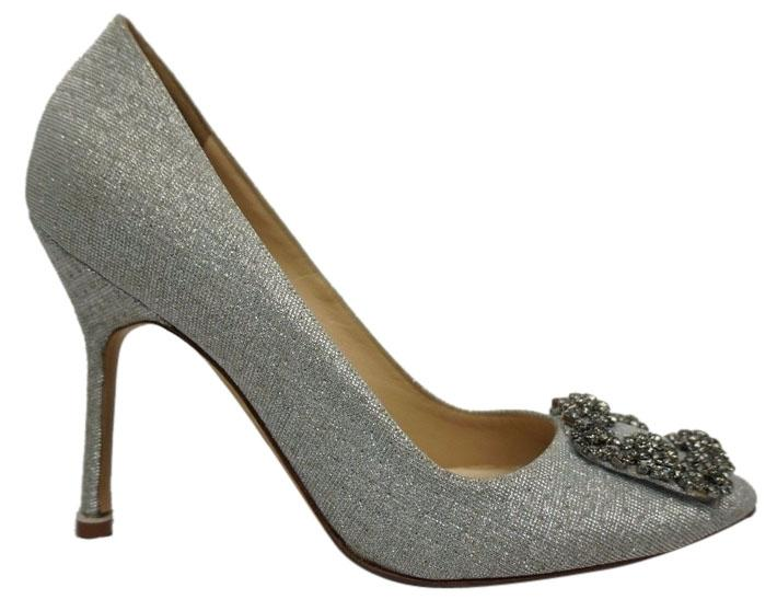 Manolo Blahnik Silver Hangisi Jeweled Pumps Size US 6.5 Regular (M, B)