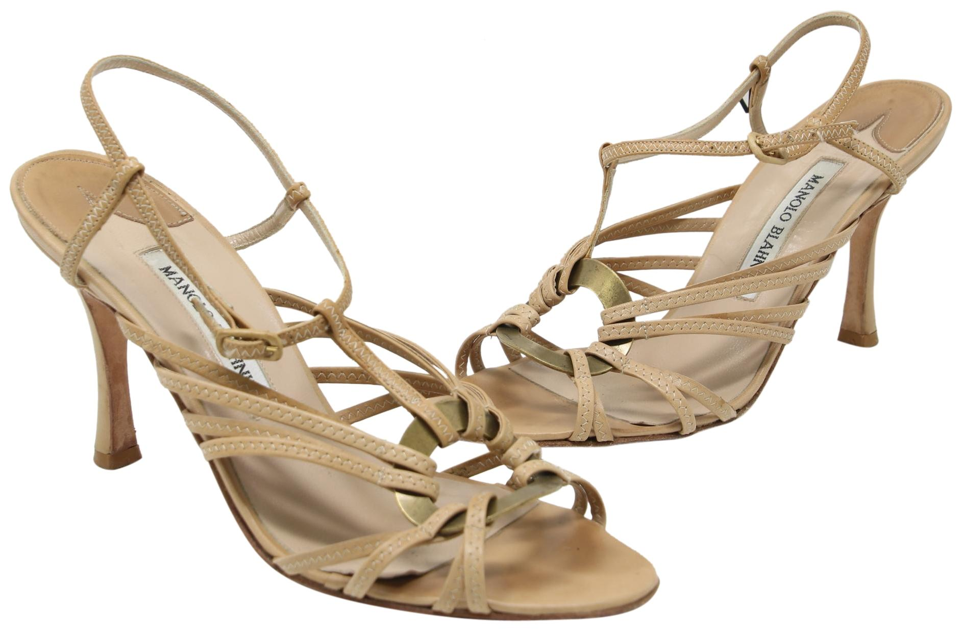 Manolo Blahnik Crossover Peep-Toe Sandals recommend online A77VhyAjq